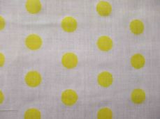 White with 20mm Yellow Spot Polyotton Fabric